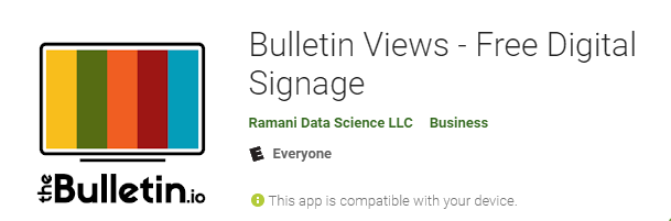 Bulletin Views digital signage player app for Android and Google Play